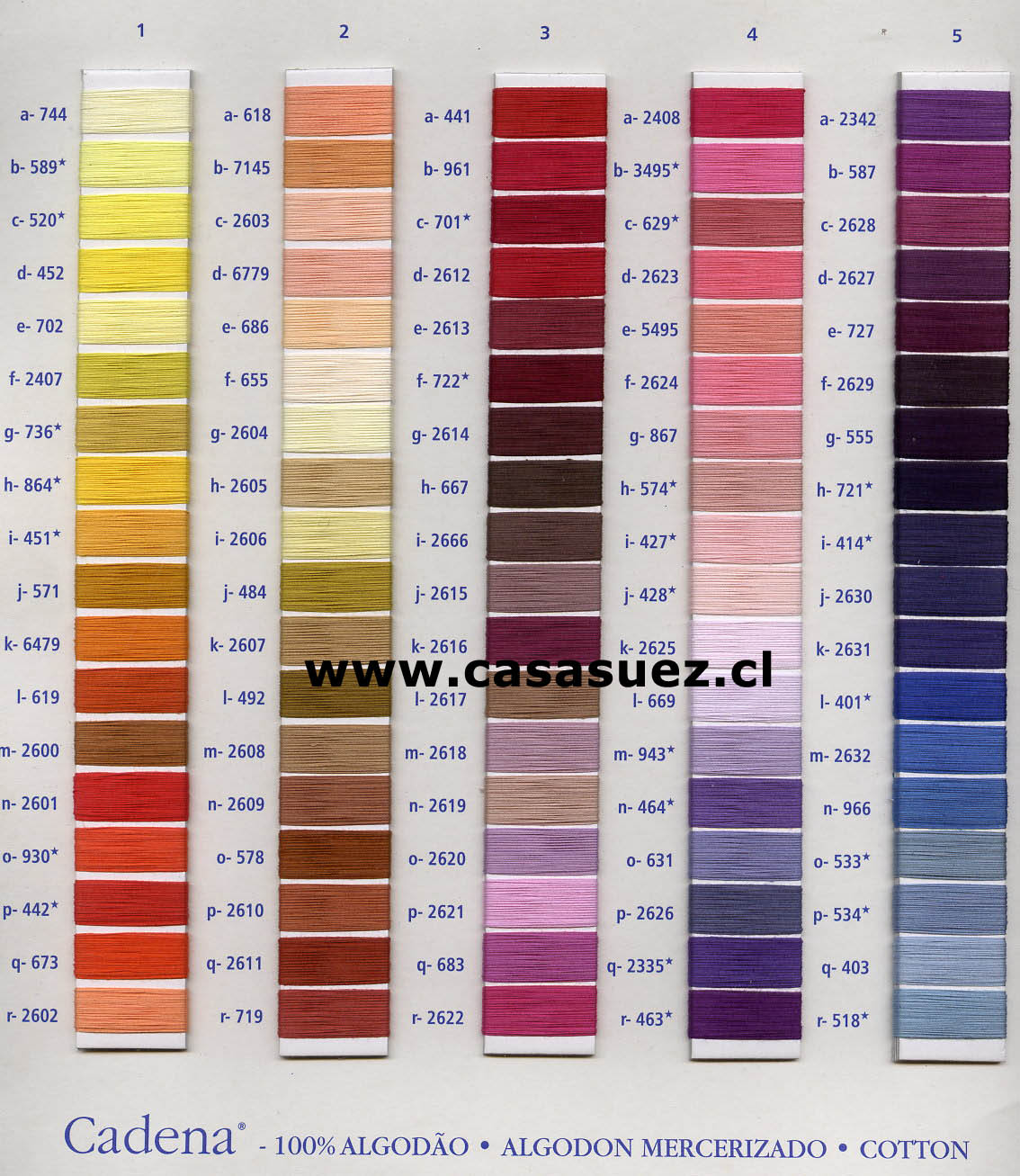 Embroidery Floss Color Chart